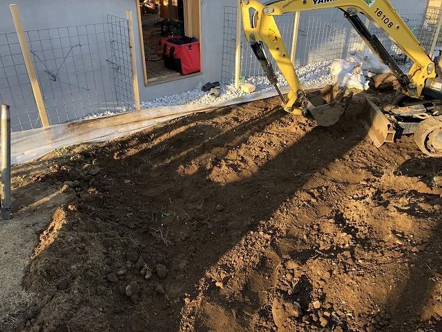 地面を掘り進むバックホー