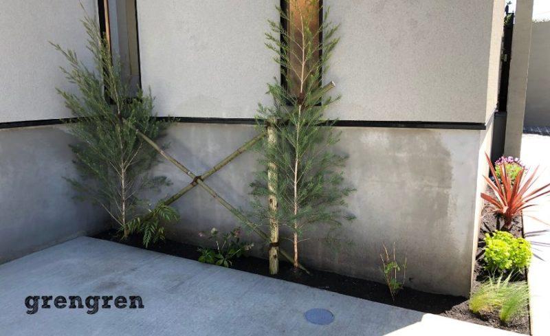 横浜市の新築住宅の北側のスリット花壇と目隠し樹木