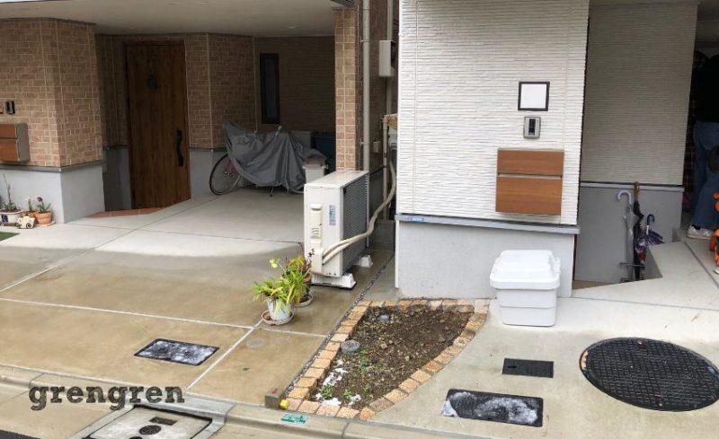 お問合せ後に伺った目黒区の新築の玄関前の花壇