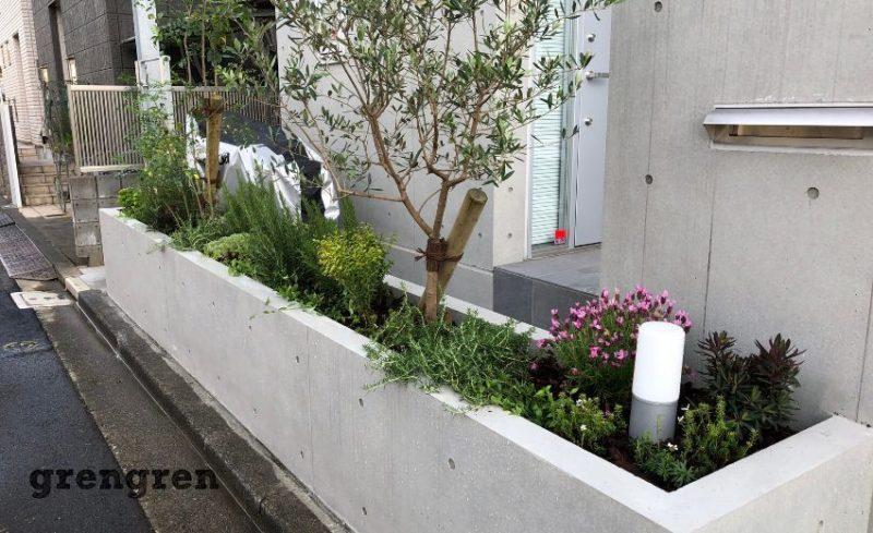 狛江市で行った新築j住宅の春の植栽工事