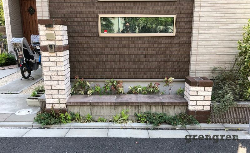 植物の成長がみだれ荒れたような花壇の植栽