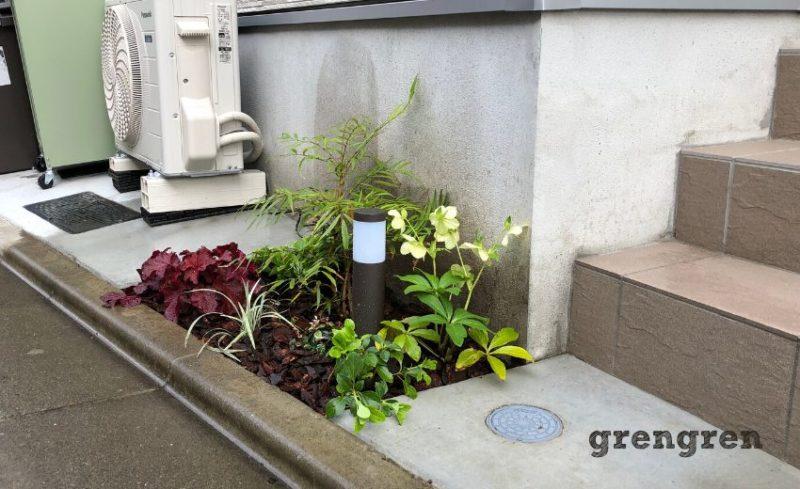 世田谷区の個人邸の北向き花壇の植物