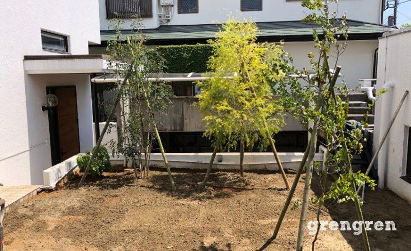樹木の植え込みが行われた横浜市の個人邸