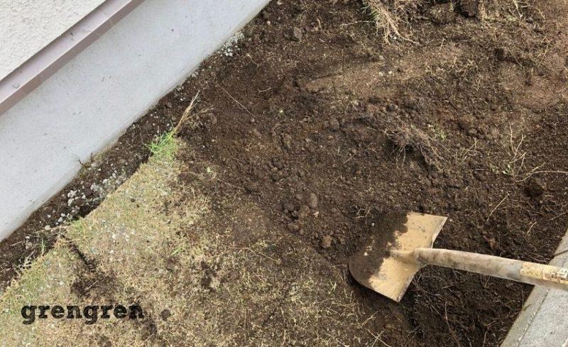 綺麗に芝生をはがすことができた横浜市の個人邸のお庭