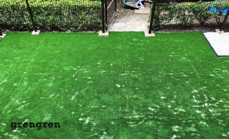 世田谷区のマンション専用庭で人工芝の設置工完成