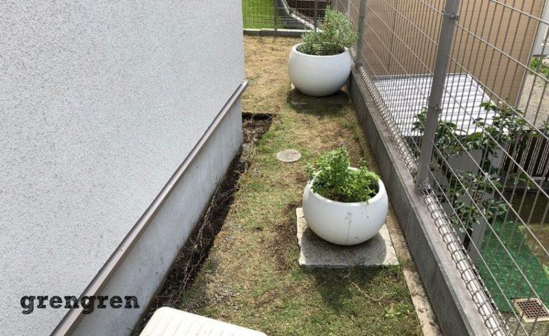以前施工したカワイイ鉢植えと芝刈りを行った横浜市の個人邸のお庭