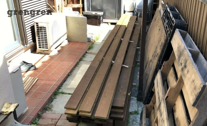 塗装した材木の乾燥する環境