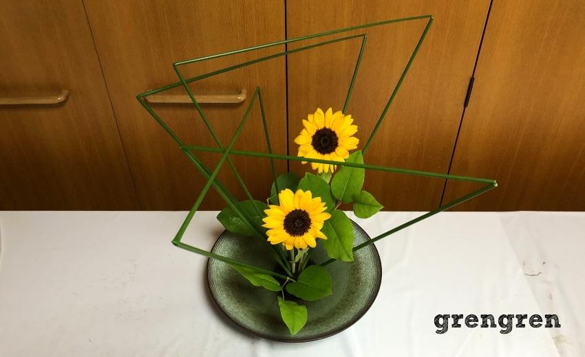 生徒である造園会社ぐりんぐりんの横田がいけた夏の自由花