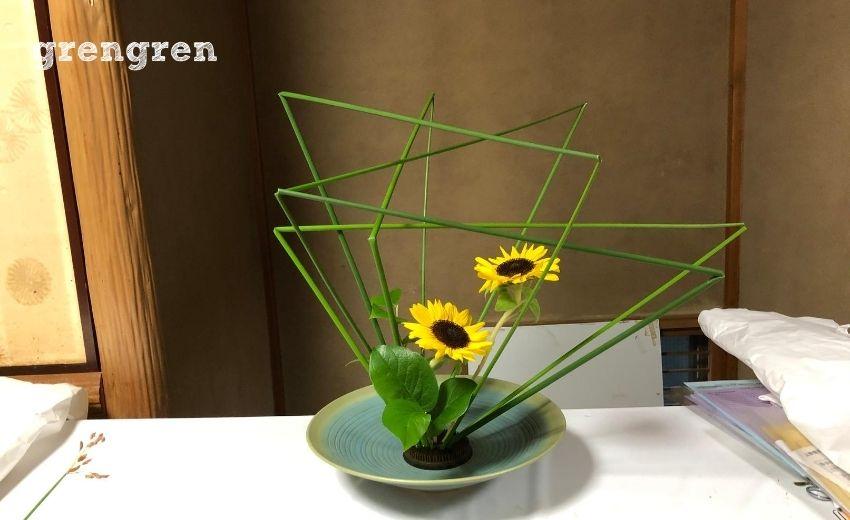 第92回目の池坊目黒教室のひまわりの自由花