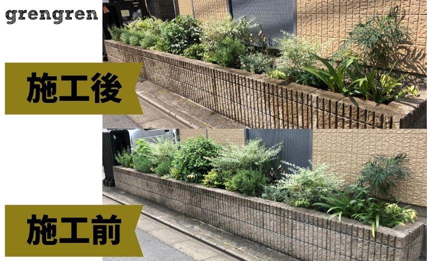8月の世田谷のアパートの管理の施工前と施工後の比較