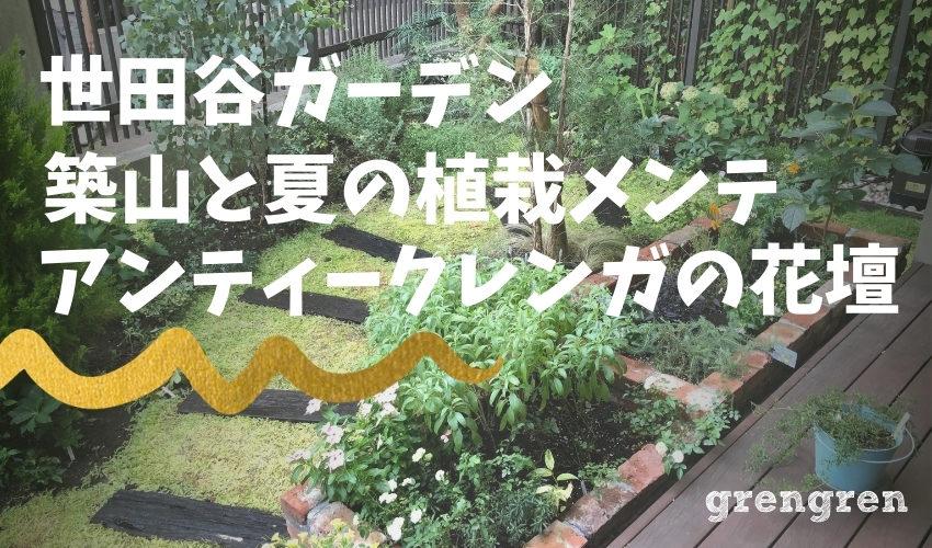 世田谷ガーデンの夏のメンテナンスと植栽