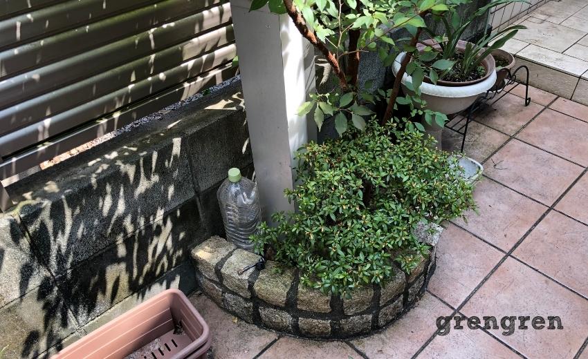 花壇の大きさとガーデンライトの大きさがミスマッチ