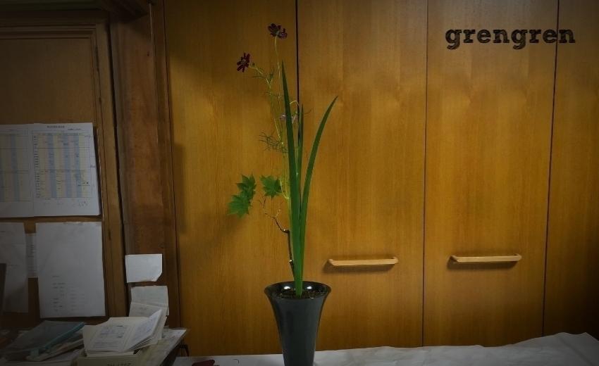 池坊目黒教室の先生が直してくれた生花新風体