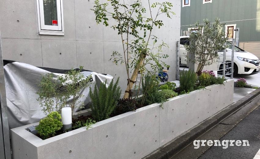 5月に植栽された狛江市の北側花壇