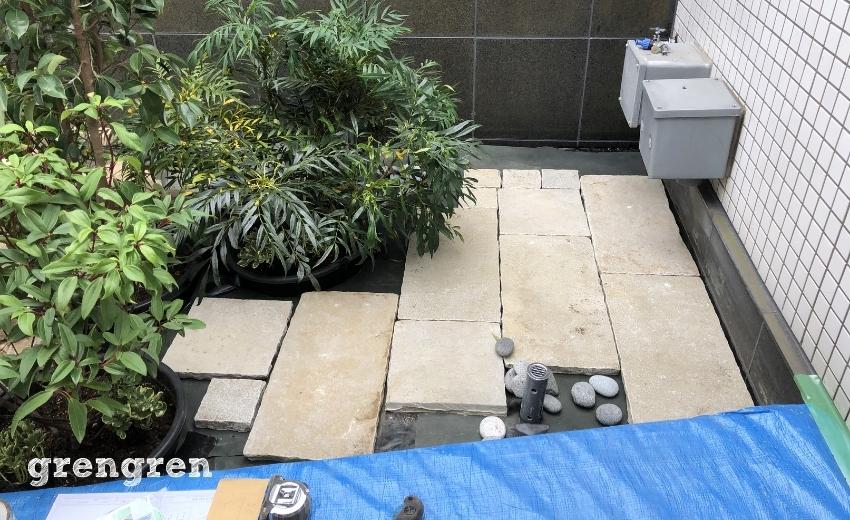 自然石の平板の設置完成イメージ