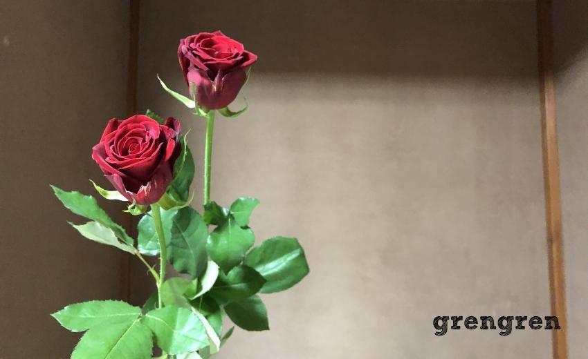 2020年11月の池坊目黒教室の花材のバラ