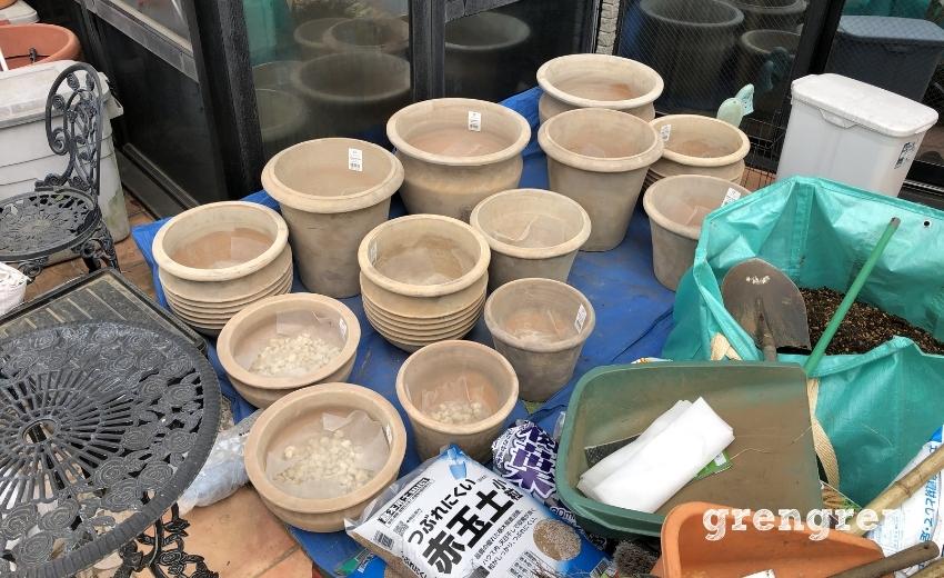世田谷ローズガーデンのためのテラコッタの鉢植え