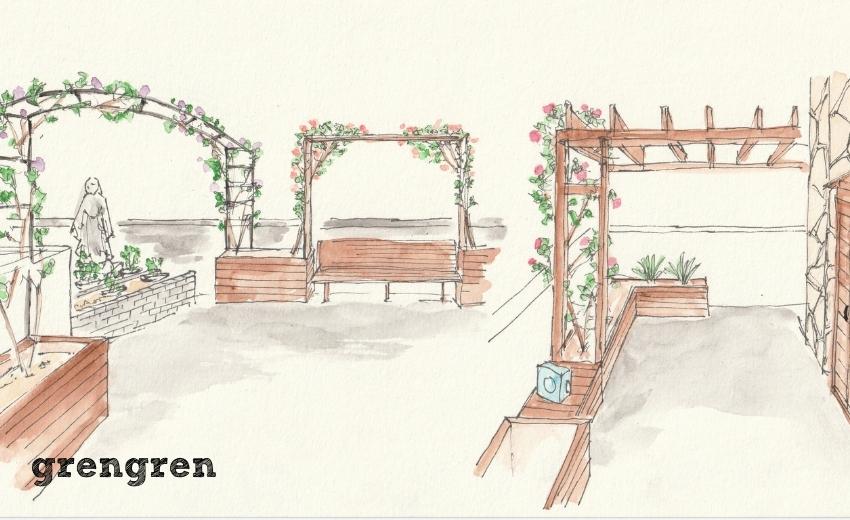 世田谷区のローズガーデンの庭づくりのデザイン案