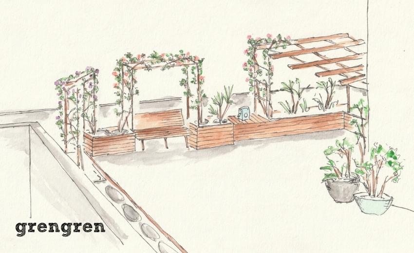 木製の鉢植えカバーがあるローズガーデンの庭づくりの提案