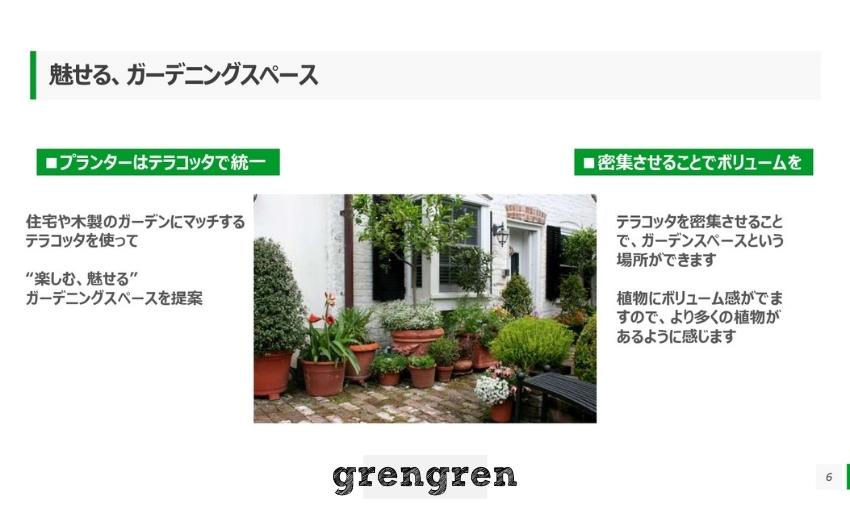 鉢植えを採用するイメージを伝えるプレゼン資料