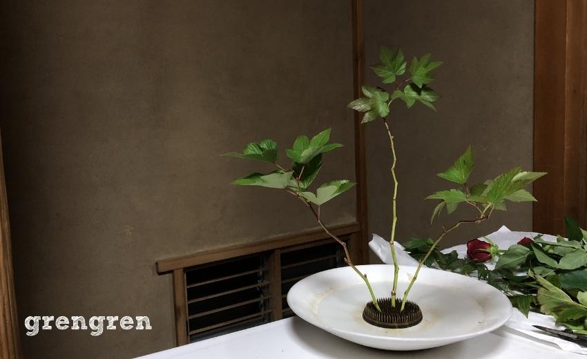 キイチゴの葉っぱを除去して枝で全体の骨格をつくった池坊自由花