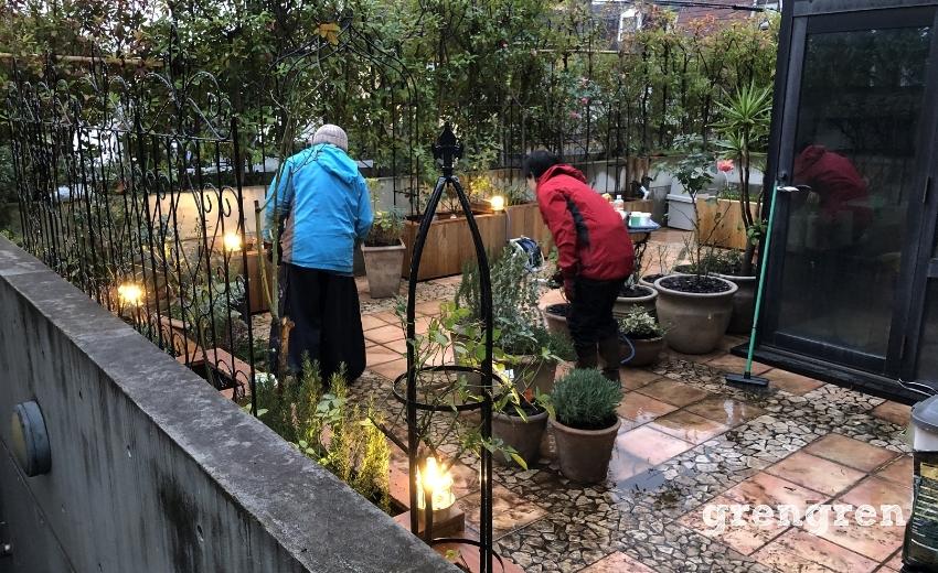 植物の配置と掃除を行う職人さんたち