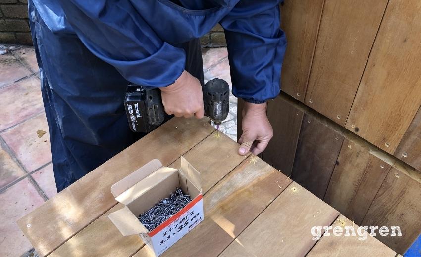 ハードウッドで鉢植えカバーをつくる工程