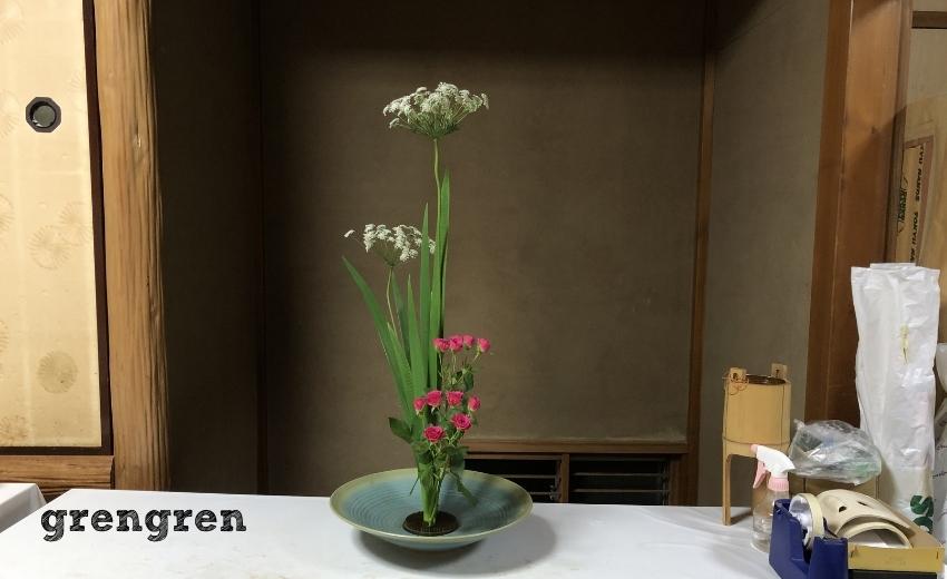 池坊目黒教室に通う造園会社ぐりんぐりん横田が生けた花