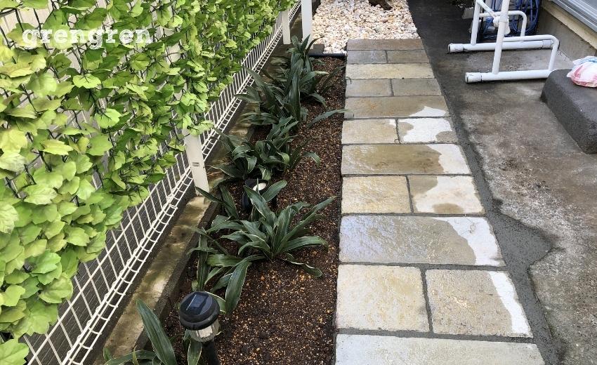 完成した世田谷区の個人邸の南側の庭