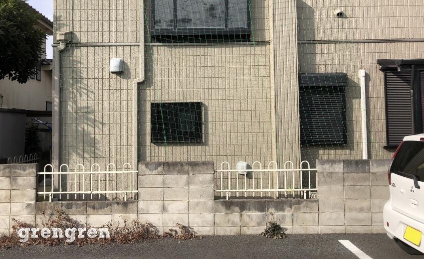 誘引するためのネットを張った住宅の東側