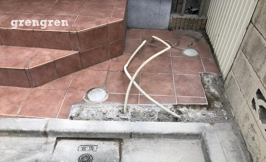 門柱の解体作業が終わった豊島区の玄関