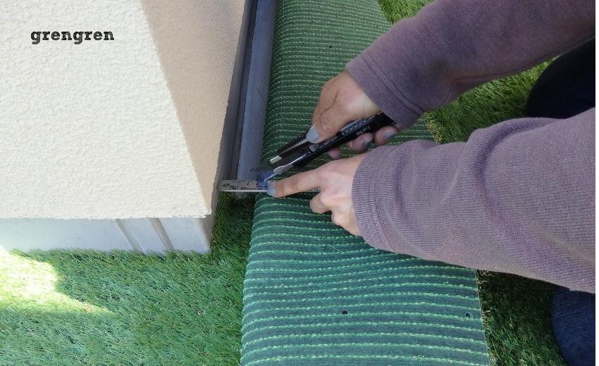 人工芝の設置のコツは隅を綺麗に収めること