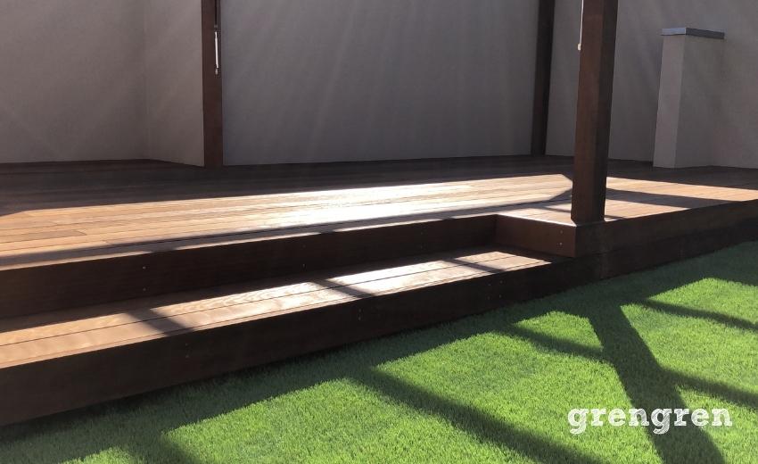 世田谷区の屋上で施工したウッドデッキとパーゴラと人工芝