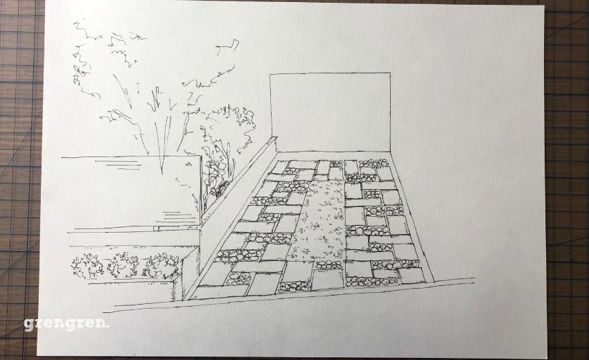 和モダンの駐車場のイメージ図を描くペン入れ