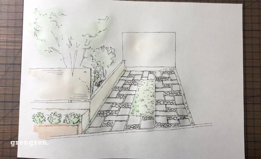 町田のお庭づくりにイメージ図に水性絵具で着色する工程