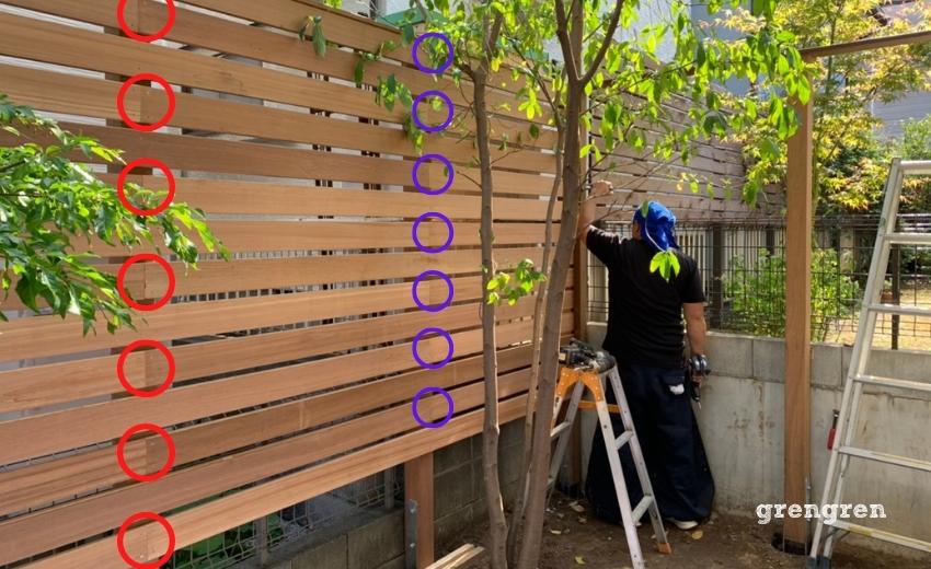 ウッドフェンスの横板を楽に綺麗に施工する方法