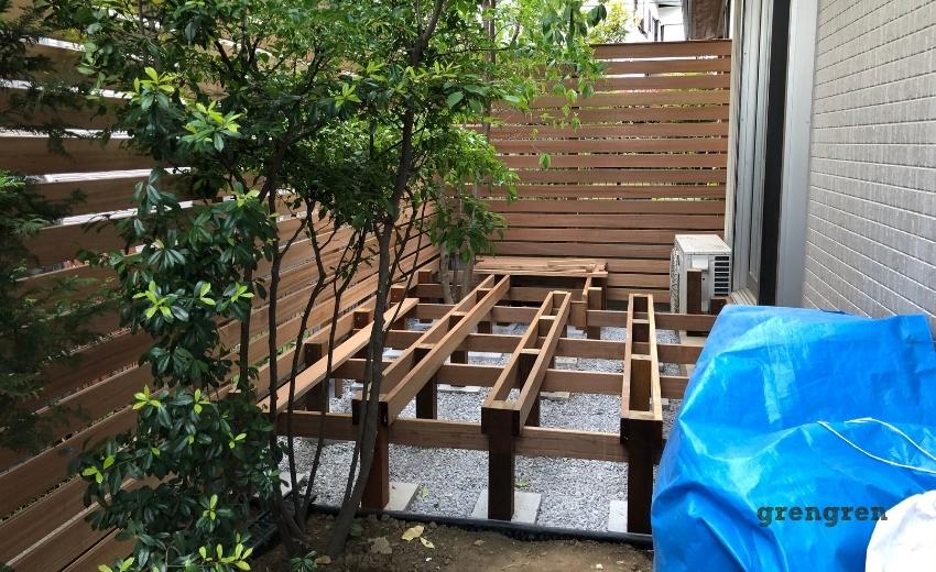 狛江市のウッドデッキの施工5日目の終わり