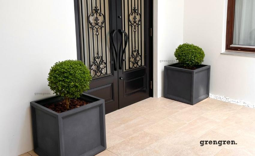 南仏のホテルをイメージしたような玄関と植栽