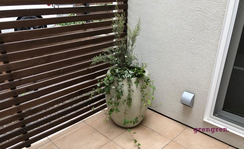 世田谷区の個人邸の中庭に設置した鉢植え植栽
