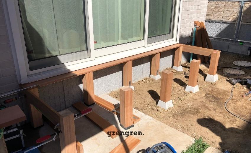 縁側デッキの支柱をハードウッドでつくる方法